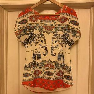EUC Gaze vintage elephant print knit short sleeve